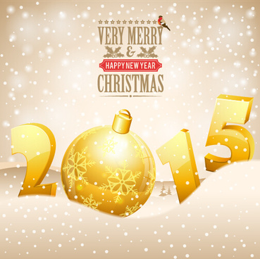 golden christmas ball with15 new year vector background art