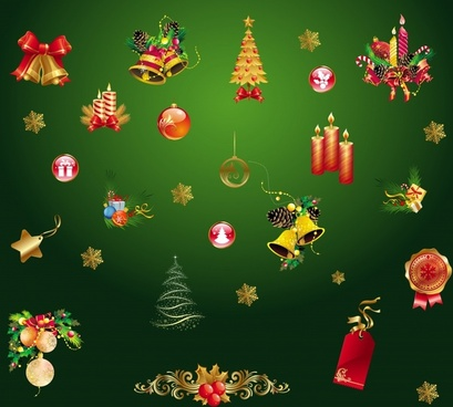 christmas design elements colorful baubles icons sketch