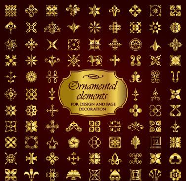 golden christmas ornament elements vectors