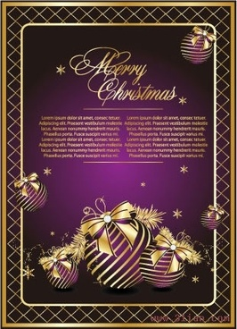 christmas banner violet golden bauble decor elegant design