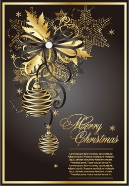 golden christmas theme vector 3