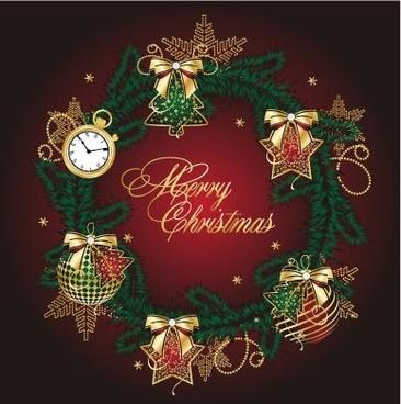golden christmas theme vector 5