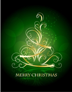 golden christmas tree pattern vector