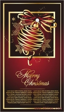 christmas card template elegant dark design bauble decor