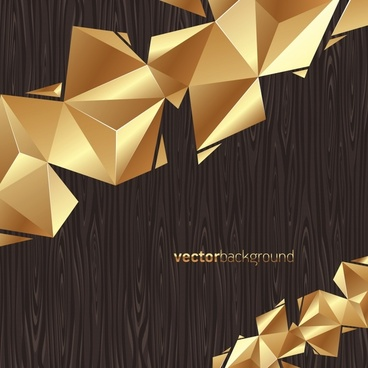 wood background shiny golden 3d geometric decor
