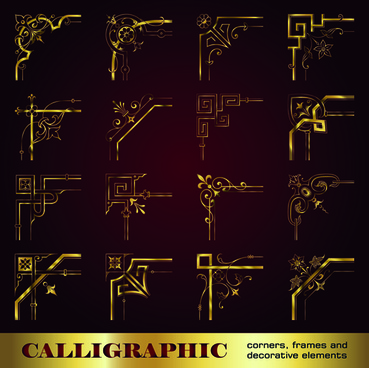 golden corners ornaments vector