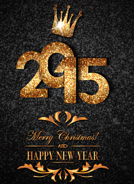 golden crown15 new year and christmas background vector