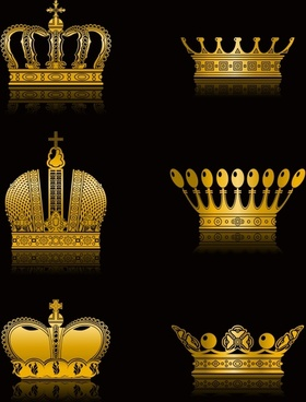 crown icons vintage golden design