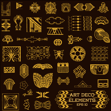 golden deco elements art vector materoal
