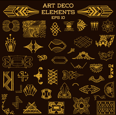 art deco design elements free vector download 221333