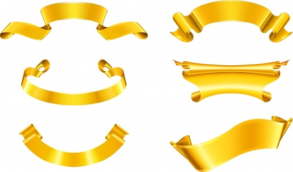 ribbon templates shiny luxury 3d golden design