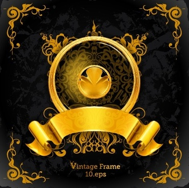 golden emblem and frames decorative elements vector