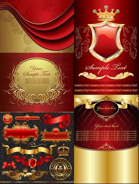 golden european elements vector