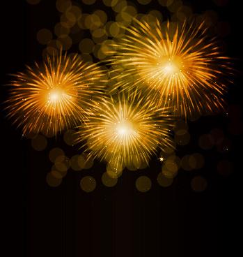 golden fireworks effect vector background
