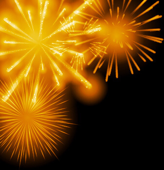 golden fireworks effect vector background