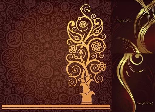 golden floral background vector illustration