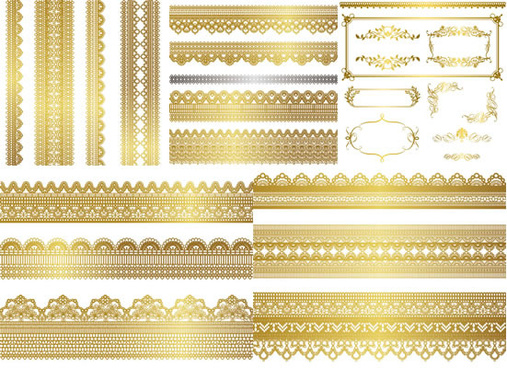 golden floral border vector