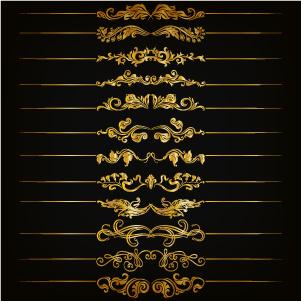 golden floral borders vector