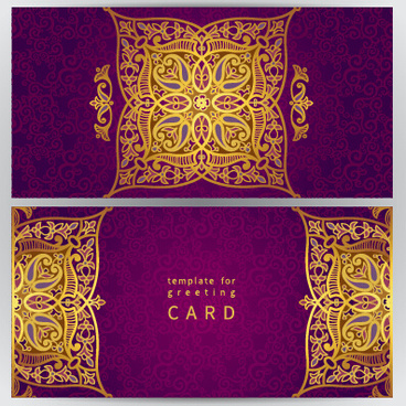 golden floral pattern greeting cards vector