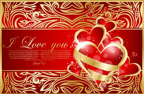 golden floral valentine card vector