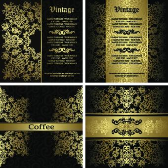 golden floral vintage vector background set