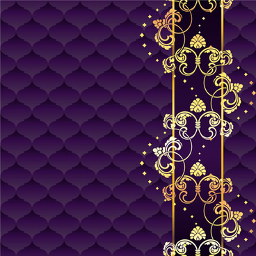 golden floral with purple textures background vector