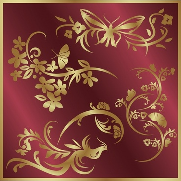 decorative background golden retro oriental decor