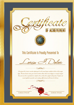 golden frame certificate template vector