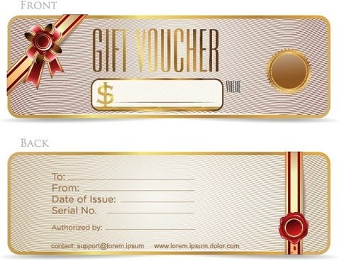 golden frame gift voucher vector