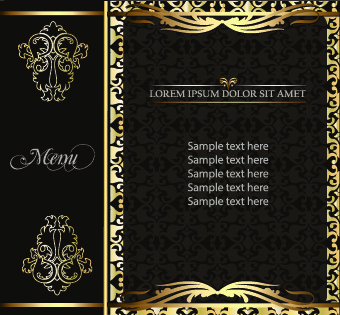 golden frame menu cover design vector