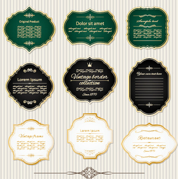 golden frame retro labels vector