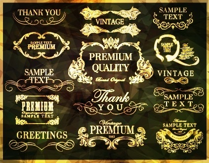 golden frame with labels ornament vector