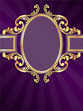 golden frame with purple background vector