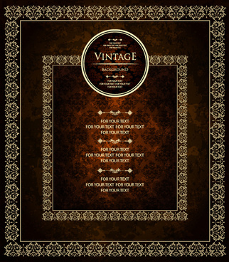 golden frames vintage background art vector