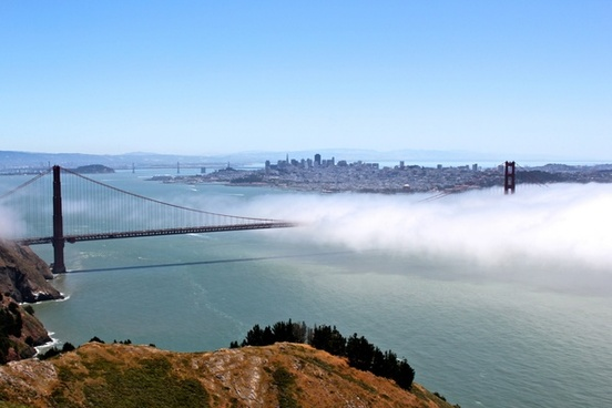 golden gate bridge in fog from high point