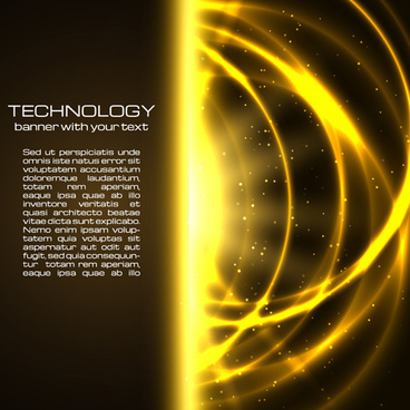 golden glow tech background vector