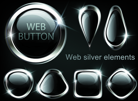 golden glow web buttons elements vector