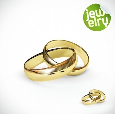 golden glow wedding rings elements vector