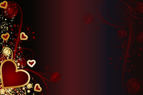 golden hearts valentine vector background