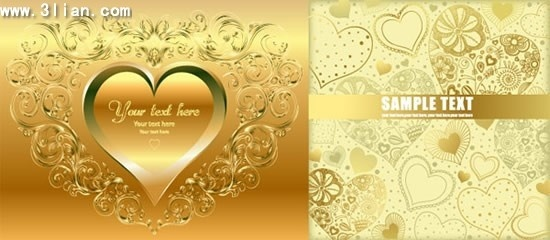wedding card templates shiny golden hearts decor