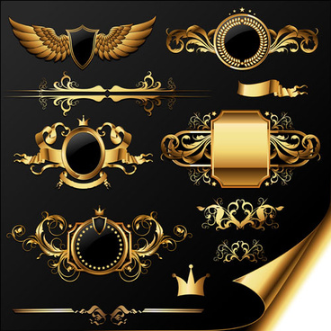 golden heraldic and decor elements vector