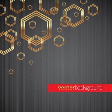 technology background modern shiny golden polygons decor