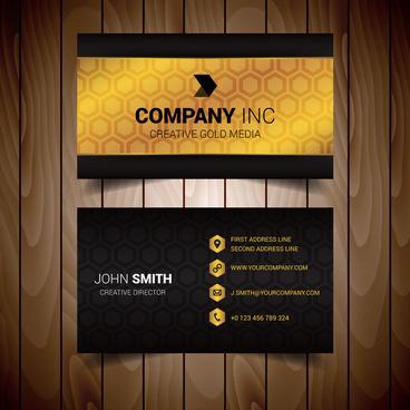 golden hexagonal modern business card