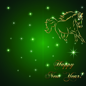 golden horse happy new year background