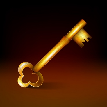 golden key icon shiny design