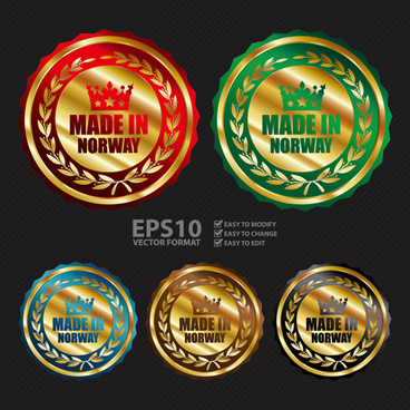 golden laurel wreath badges vectors set