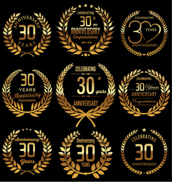 golden laurel wreath with anniversary celebration labels vector