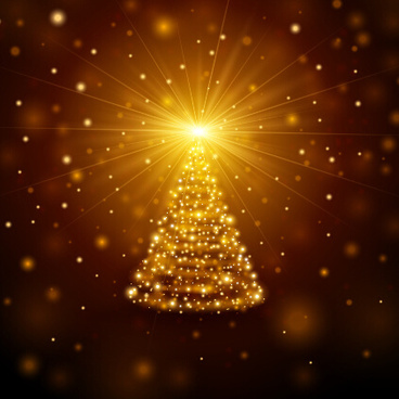golden light christmas tree background vector