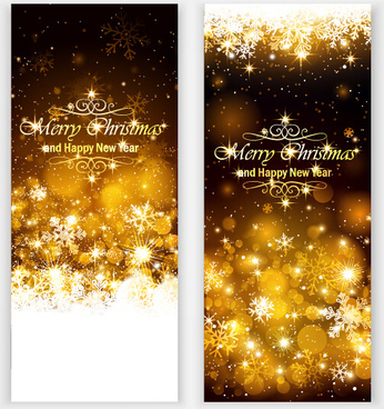 golden light with snowflake christmas vertical banner vector