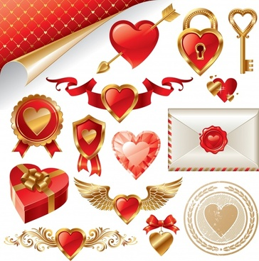valentine design elements modern 3d flat love symbols